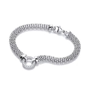 J-Jaz Rhodium plated Sterling silver Cubic Zirconia Circle flexible mesh bracelet